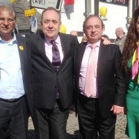 Tahir with Alex Salmond Ch Ramzan And Tasmeena Sheikh