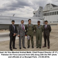 Air Vice Marshal Arshad Malik, Chief Project Director JF-17 project Pakistan Air Force (second from left) along with the PAF pilots
