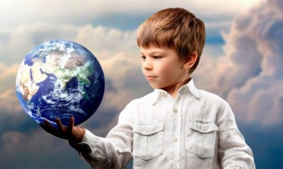Child with World Globe