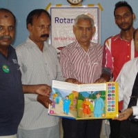 Mumtaz Baig Speaking Presented Polio Awareness Rotary Boxes