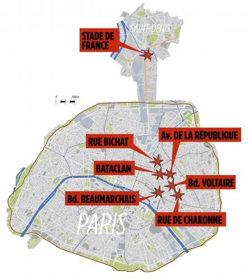 Map Paris Attacks
