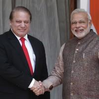 Narendra Modi with Nawaz Sharif