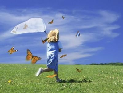 Girl Catching Butterflies