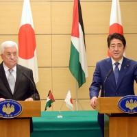 Mahmoud Abbas and Shinzo Abe
