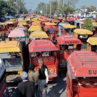 Motorcycle Rickshaw Drivers Protest