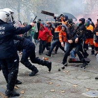 Brussels Protesters and Police Clash