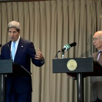 John Kerry and Sartaj Aziz
