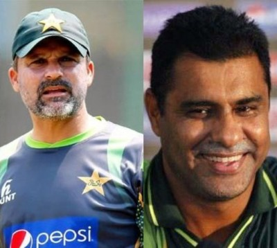 Moin Khan and Waqar Younis
