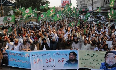 Supporters of Mumtaz Qadri rally