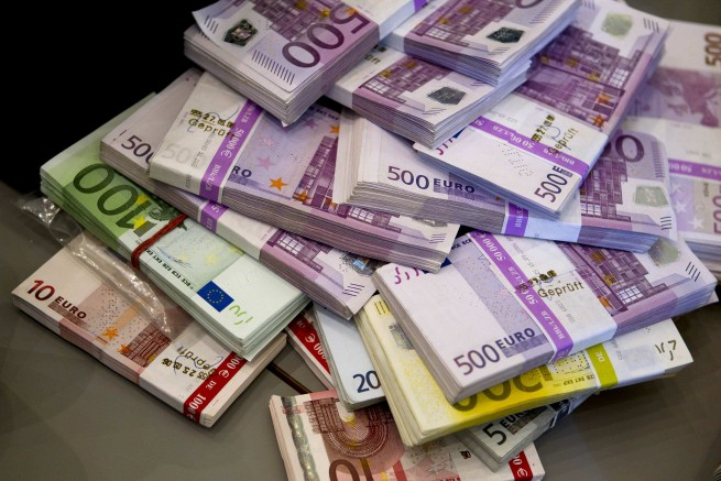 Money seized by German customs agency Zoll during anti-money laundering operation is displayed before agency's annual statistics news conference in Berlin