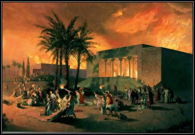 Persepolis set on fire after being robbed by the decoit Alexander of Macedonia