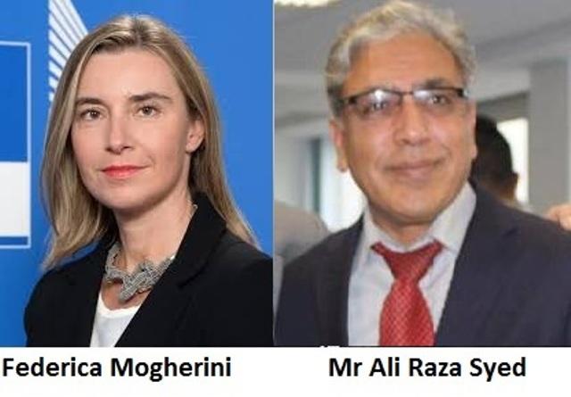 Federica Mogherini And Ali Raza Syed