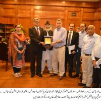 NBP Sports Head Presenting Souvenir to Commissioner Karachi