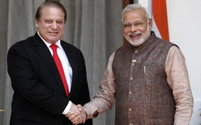 Nawaz Sharif with Narendra Modi