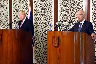 British Foreign Minister and  Sartaj Aziz