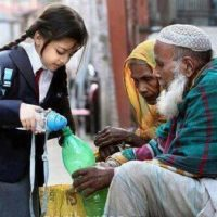 Girl Give Water to Beggar