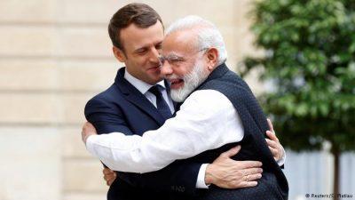Emmanuel Macron and Narendra Modi