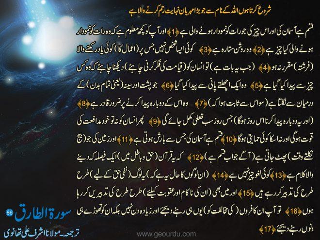 سورة الطارق ۔ ترجمعہ ۔ مولانا اشرف علی تھانوی