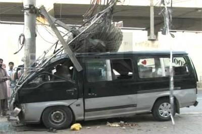 Passenger Vans Electric Pole Hit
