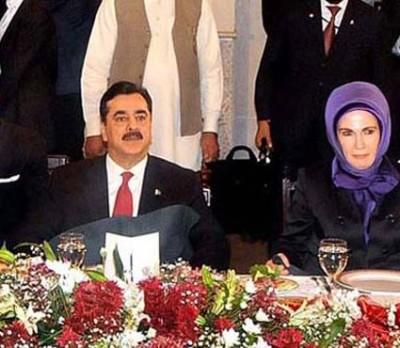 Yousuf Raza Gilani and Turk First Lady