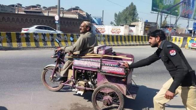 Policeman Disabled Car Pushing