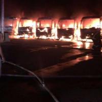 Saudi Arabia Protest Buses Fire