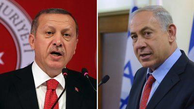 Benjamin Netanyahu and Recep Tayyip Erdogan