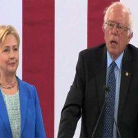 Hillary Clinton with Bernie Sanders