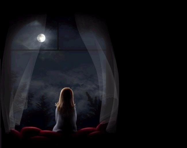 Sad Girl Looking Moon