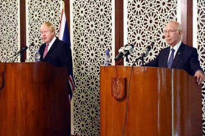 British Foreign Minister and  Sartaj Aziz