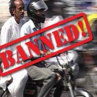 Pillion Riding Baned