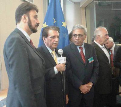 Talking to media in Berlin Raja Farooq Haider