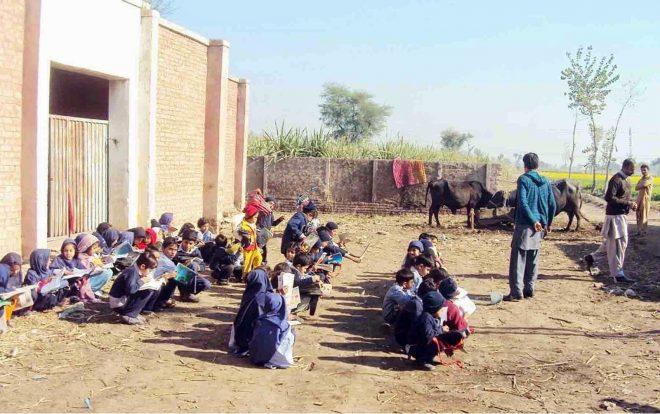 بکریاں چرانا اور چھوٹے بچے پڑھانا