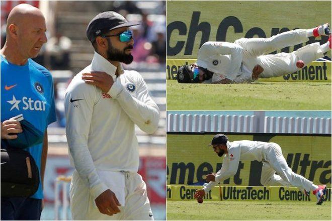 بھارتی ٹیم کے کپتان ویرات کوہلی فیلڈنگ کرتے ہوئے زخمی