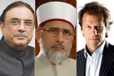 Imran Khan and Tahir-ul-Qadri, Asif Zardari