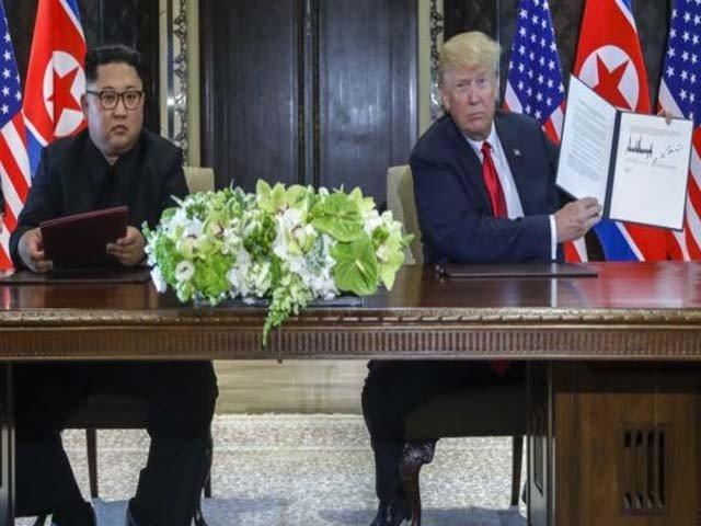 ٹرمپ اور کم جونگ ان کے درمیان تاریخی ملاقات کا اعلامیہ جاری